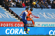 Wigan's Danny Fox holds Ipswich Town's William Keane during the EFL Sky Bet Championship match between Wigan Athletic and Ipswich Town at the DW Stadium, Wigan, England on 23 February 2019.