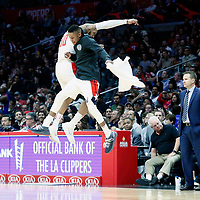 09 December 2017: Washington Wizards forward Mike Scott (30) celebrates with Washington Wizards guard Tim Frazier (8) next to Washington Wizards head coach Scott Brooks during the LA Clippers 113-112 victory over the Washington Wizards, at the Staples Center, Los Angeles, California, USA.
