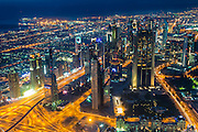 Overlook over Dubai from Burj Khalifa at night, United Arab Emirates