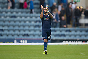 10th August 2019; Dens Park, Dundee, Scotland; SPFL Championship football, Dundee FC versus Ayr; Kane Hemmings of Dundee applauds the fans at the end of the match