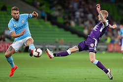 January 19, 2019 - Melbourne, VIC, U.S. - MELBOURNE, VIC - JANUARY 19: Perth Glory forward Andy Keogh (9) competes for the ball at the Hyundai A-League Round 14 soccer match between Melbourne City FC and Perth Glory on January 19, 2019, at AAMI Park in VIC, Australia. (Photo by Speed Media/Icon Sportswire) (Credit Image: © Speed Media/Icon SMI via ZUMA Press)