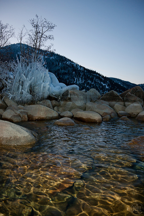 """""""Icicles at Lake Tahoe 1"""" - This icicle covered bush was photographed in the early morning as Sand Harbor, Lake Tahoe."""