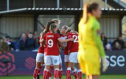Bristol City Women celebrate going 2-0 up against Liverpool FC Women - Mandatory by-line: Paul Knight/JMP - 17/11/2018 - FOOTBALL - Stoke Gifford Stadium - Bristol, England - Bristol City Women v Liverpool Women - FA Women's Super League 1