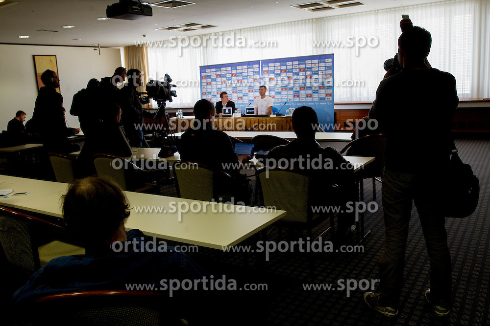Srecko Katanec, head coach of Slovenian National football team at press conference at training camp on May 27, 2013 in Hotel Kokra, Brdo pri Kranju, Slovenia. (Photo By Vid Ponikvar / Sportida)