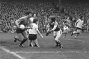 Dublin goalkeeper Paddy Cullen, clearing the ball from his goal away from Kerry players during the All Ireland Senior Gaelic Football Final Dublin v Kerry in Croke Park on the 26th September 1976. Dublin 3-08 Kerry 0-10.