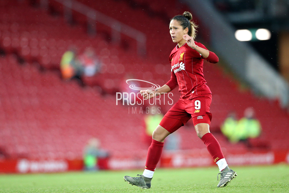 Liverpool women forward Courtney Sweetman-Kirk (9) during the FA Women's Super League match between Liverpool Women and Everton Women at Anfield, Liverpool, England on 17 November 2019.