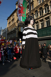 CARDIFF, WALES - Thursday, March 1, 2012: A float of Nessa Jones from the TV comedy Gavin and Stacey during 10th St. David's Day Parade through the streets of Cardiff. (Pic by David Rawcliffe/Propaganda)