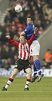 Photo. Aidan Ellis.<br /> Southampton v Everton.<br /> FA Barclaycard Premiership.<br /> 21/02/2004.<br /> Southampton's Brett Ormerod and Everton's David Unsworth