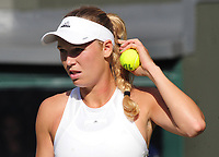 Tennis - 2017 Wimbledon Championships - Week One, Tuesday [Day Two]<br /> <br /> Women's Singles, First Round match<br /> Timea Babos (HUN) vs Caroline Wozniacki (DEN) <br /> <br /> Caroline Wozniacki  on Centre court <br /> <br /> COLORSPORT/ANDREW COWIE