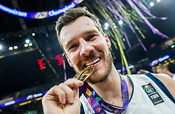 Goran Dragic of Slovenia celebrating at Trophy ceremony after winning during the Final basketball match between National Teams  Slovenia and Serbia at Day 18 of the FIBA EuroBasket 2017 when Slovenia became European Champions 2017, at Sinan Erdem Dome in Istanbul, Turkey on September 17, 2017. Photo by Vid Ponikvar / Sportida