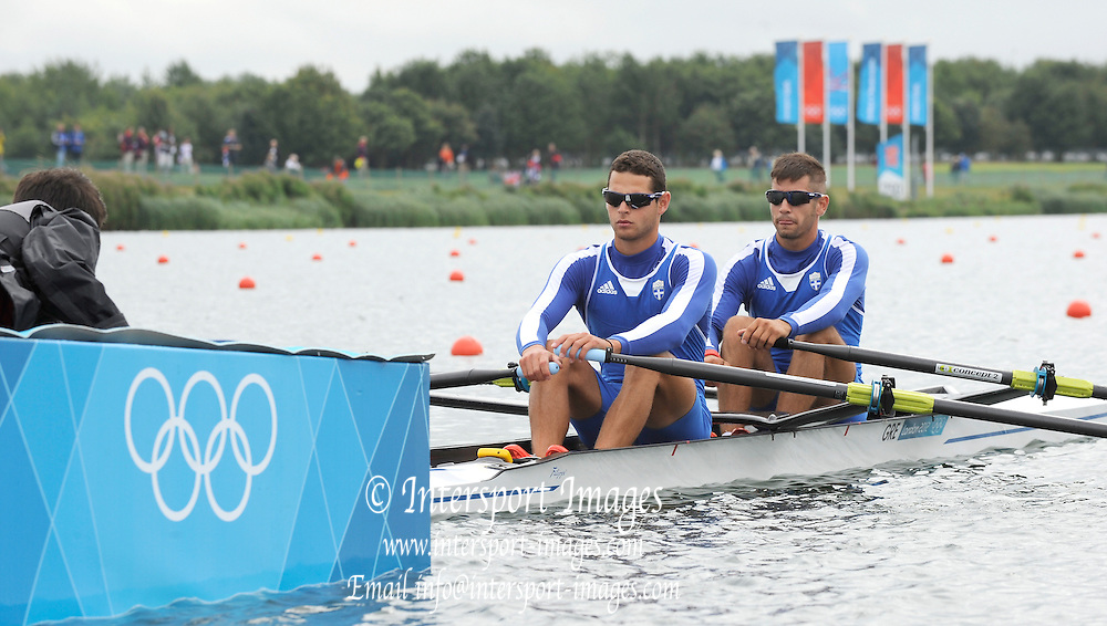 Eton Dorney, Windsor, Great Britain,..2012 London Olympic Regatta, Dorney Lake. Eton Rowing Centre, Berkshire[ Rowing]...Description;   GRE LM2X.  Bow. Eleftherios KONSOLAS and Panagiotis MAGDANIS,  move away from the start of their Repechage, Dorney Lake. 12:33:58  Tuesday  31/07/2012 [Mandatory Credit: Peter Spurrier/Intersport Images]  .