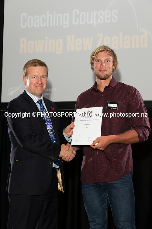Hon. Jonathan Coleman presents certificate to Rowing Brook Robertson at the High Performance Sport NZ Waikato ceremony for the Prime Minister's Scholarship Awards, at Sir Don Rowlands Centre, Lake Karapiro, Cambridge, New Zealand, 20 April 2016. Copyright Photo: Stephen Barker / www.photosport.nz