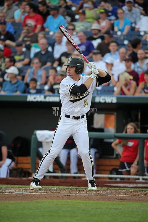 Rhett Wiseman #8 of the Vanderbilt Commodores bats during Game 2 of the 2014 Men's College World Series between the Vanderbilt Commodores and Louisville Cardinals at TD Ameritrade Park on June 14, 2014 in Omaha, Nebraska. (Brace Hemmelgarn)