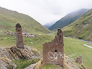 Abandoned stone towers of Girevi, Tusheti, Georgia.