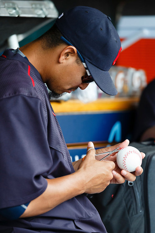 Jun 14, 2015; Detroit, MI, USA; Cleveland Indians short stop Francisco Lindor (12) in the dugout during the fourth inning against the Detroit Tigers at Comerica Park. Mandatory Credit: Rick Osentoski-USA TODAY Sports