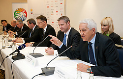 Dr. Igor Luksic, Slovenia'S Minister of Education and Sport, Olafur Rafnsson, president of FIBA Europe and Nar Zanolin, secretary general of FIBA Europe during press conference at Eurobasket 2013 Candidate presentation of Slovenia at FIBA EUROPE Board on December 05, 2010 in Munich, Germany. The Board decided that Eurobasket 2013 will be hold in Slovenia. (Photo By Vid Ponikvar / Sportida.com)