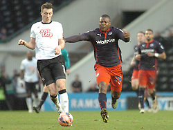Derby Craig Forsyth holds of Reading Yakubu,  Derby County v Reading, FA Cup 5th Round, The Ipro Stadium, Saturday 14th Febuary 2015
