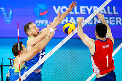 Jan Kozamernik of Slovenia and Tine Urnaut of Slovenia vs Simon Guerra Uteau of Chile during volleyball match between Slovenia and Chile in Group A of FIVB Volleyball Challenger Cup Men, on July 3, 2019 in Arena Stozice, Ljubljana, Slovenia. Photo by Matic Klansek Velej / Sportida