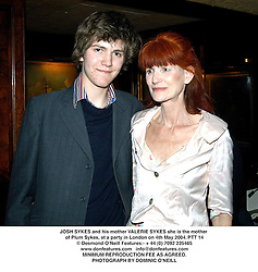 JOSH SYKES and his mother VALERIE SYKES she is the mother of Plum Sykes, at a party in London on 4th May 2004.PTT 14