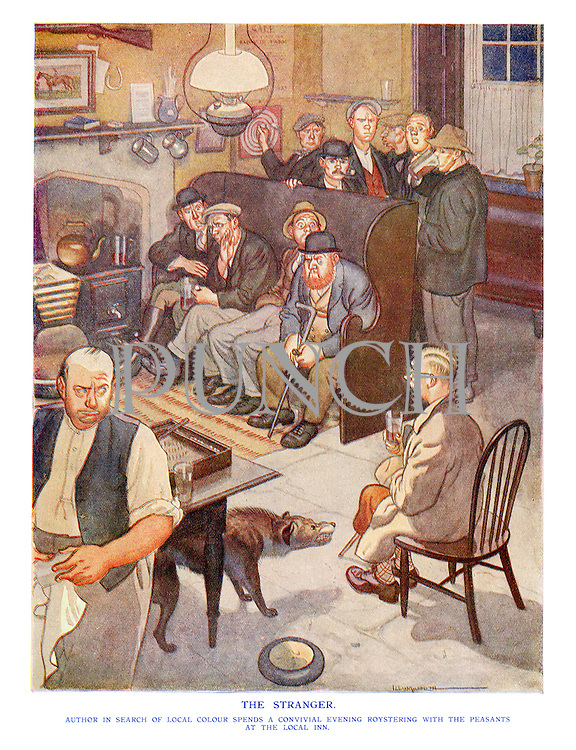 The Stranger. Author in search of local colour spends a convivial evening roystering with the peasants at the local inn.