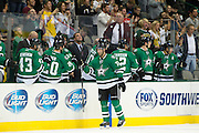 DALLAS, TX - SEPTEMBER 26:  Erik Cole #72 of the Dallas Stars celebrates with teammates after scoring a goal in the second period against the Colorado Avalanche in an NHL preseason game on September 26, 2013 at the American Airlines Center in Dallas, Texas.  (Photo by Cooper Neill/Getty Images) *** Local Caption *** Erik Cole