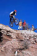 Richie Schley jumps off a Virgin Utah cliff in the 2002 Red Bull Rampage freeride mountain bike contest