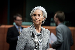 International Monetary Fund Managing Director Christine Lagarde during an emergency Eurogroup finance ministers meeting at the European Council in Brussels, Belgium on 20.02.2015 Eurogroup head Jeroen Dijsselbloem was working overtime on February 20 to save a make-or-break meeting on Greece's demand to ease its bailout programme as Germany insisted it stick with its austerity commitments after days of sharp exchanges, the 19 eurozone finance ministers gathered for the third time in little over a week to consider Athens' take-it or leave-it proposal to extend an EU loan programme which expires this month. by Wiktor Dabkowski. EXPA Pictures © 2015, PhotoCredit: EXPA/ Photoshot/ Wiktor Dabkowski<br /> <br /> *****ATTENTION - for AUT, SLO, CRO, SRB, BIH, MAZ only*****