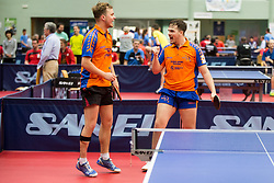 Bas HERGELINK and Emanuel MARTINS FERREIRA of Netherlands in action during Team events at Day 4 of 15th Slovenia Open - Thermana Lasko 2018 Table Tennis for the Disabled, on May 12, 2018, in Dvorana Tri Lilije, Lasko, Slovenia. Photo by Vid Ponikvar / Sportida