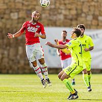 MARBELLA - 07-01-2017, Trainingskamp, AZ - FC Augsburg, AZ speler Iliass Bel Hassani, FC Augsburg speler Christoph Janker