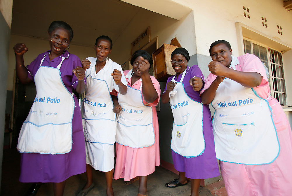 Immunization health workers at Kisenyi Health Center IV in Kampala, Uganda, take on polio as we celebrate World Polio Day, October, 2012. (Stuart Ramson for UN Foundation)