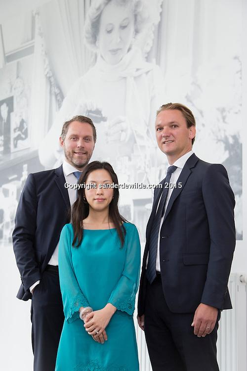 Oevel 27 July 2015 Estee Lauder<br /> Laurens Tijdhof (L), Angel (M) and Bart Taeymans (R) portrayed at the Estee Lauder Plant in Oevel, Flanders, Belgium.