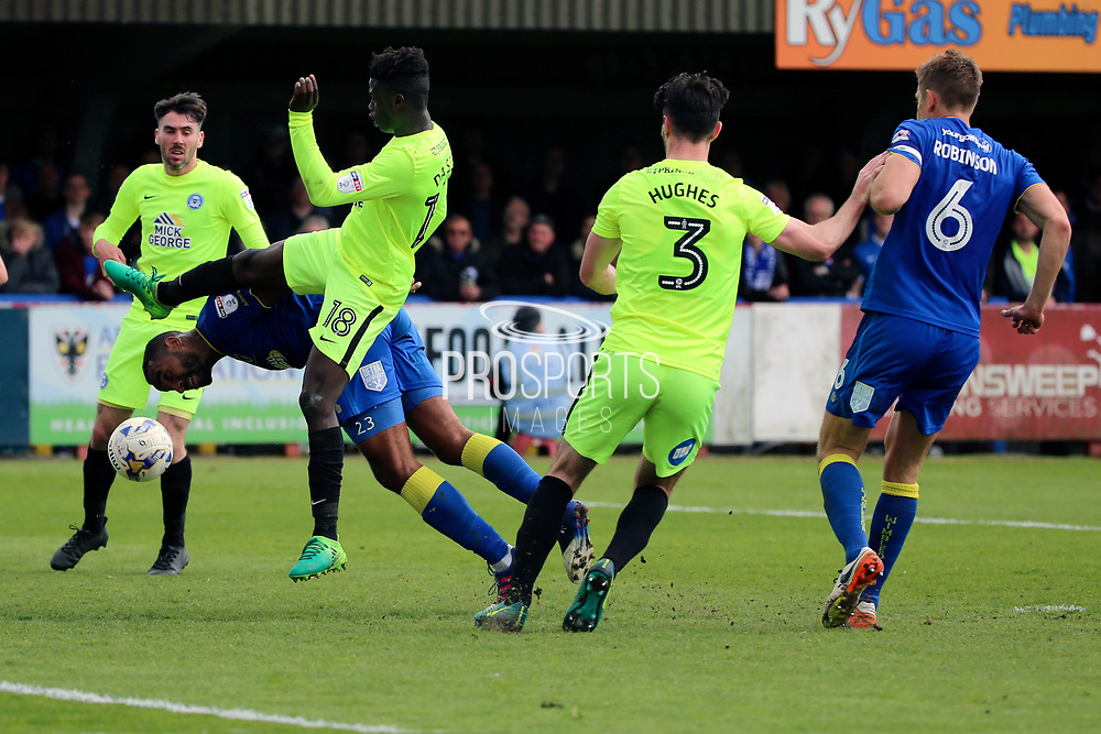 AFC Wimbledon striker Tyrone Barnett (23) trying a diving header during the EFL Sky Bet League 1 match between AFC Wimbledon and Peterborough United at the Cherry Red Records Stadium, Kingston, England on 17 April 2017. Photo by Matthew Redman.