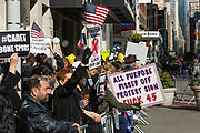 "New York, NY - 11 November 2019. New York City's Veterans Day Parade, today marking the 100th anniversary of the armistice ending the fighting of the first World War, was attended by a number of people protesting President Trump, who spoke at the opening ceremony, and a smaller number of pro-Trump supporters. Potest signs include ""All  Purpose Pissed Off Protest Sign Fuck 45,"" ""Traitor Criminal Lock Him Up,"" ""Trump: Betrayer of Allies,"" and ""#Cadet Bone Spurs."""