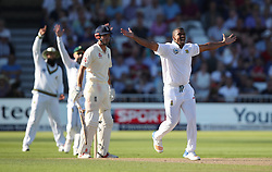 South Africa's Vernon Philander (right) unsuccessfully appeals for the wicket of England's Alastair Cook during day three of the Second Investec Test match at Trent Bridge, Nottingham.