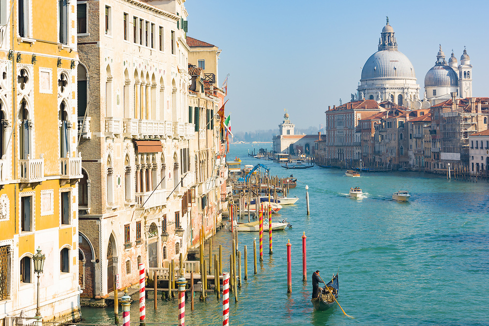 view of the grand canal in venice, seen from the ponte dell'accademia