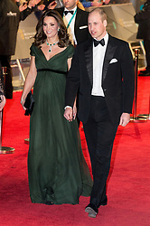 © Licensed to London News Pictures. 18/02/2018. THE DUKE AND DUCHESS OF CAMBRIDGE arrives on the red carpet for the EE British Academy Film Awards 2018, held at the Royal Albert Hall, London, UK. Photo credit: Ray Tang/LNP