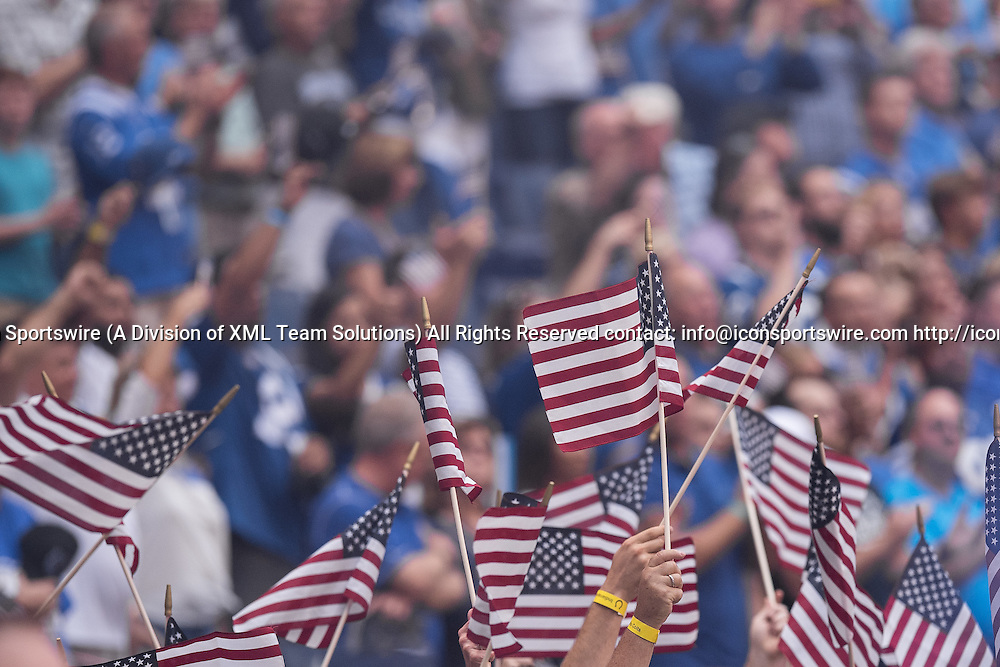 September 11, 2016: Fans display a american flag during the week 1 NFL game between the Detroit Lions and Indianapolis Colts at Lucas Oil Stadium in Indianapolis, IN.  (Photo by Zach Bolinger/Icon Sportswire)