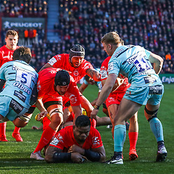 Iosefa TEKORI of Toulouse scores a try during the European Rugby Champions Cup, Pool 5 match between Toulouse and Gloucester on January 19, 2020 in Toulouse, France. (Photo by Manuel Blondeau/Icon Sport) - Stade Ernest-Wallon - Toulouse (France)