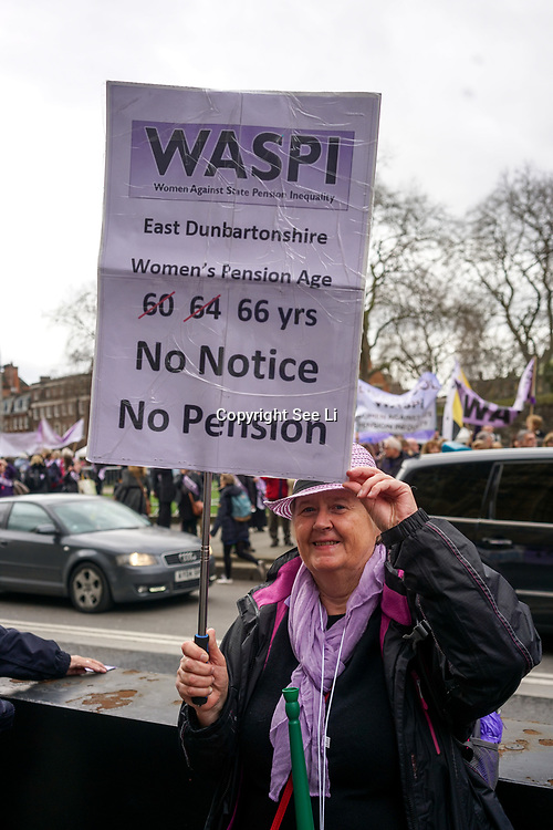 London, UK. 8th March 2017. Women Against State Pension Inequality protest at Parliament yard, London, UK. by See Li