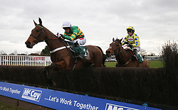 OK Corral ridden by Derek OÕ Connor lead Secret Investor ridden Harry Cobden over the last fence before winning The McCoy Contractors 2019 Construction news Awards bFinalist Hampton NovicesÕ Steeple Chase Race run at Warwick Racecourse.