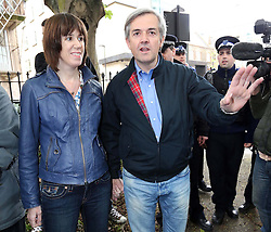 Chris Huhne arriving back at his home in London with girlfriend Carina Trimingham  after his release from prison , Monday 13th May  2013.  Photo by: Stephen Lock / i-Images