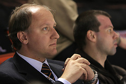 President of Hockey Federation of Slovenia Damjan Mihevc at ice-hockey match Slovakia vs Norway at Preliminary Round (group C) of IIHF WC 2008 in Halifax, on May 03, 2008 in Metro Center, Halifax, Canada. (Photo by Vid Ponikvar / Sportal Images)