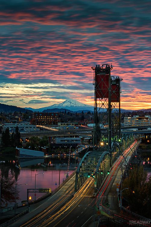 Sunrise over the Hawthorne Bridge with Mt. Hood in the background.