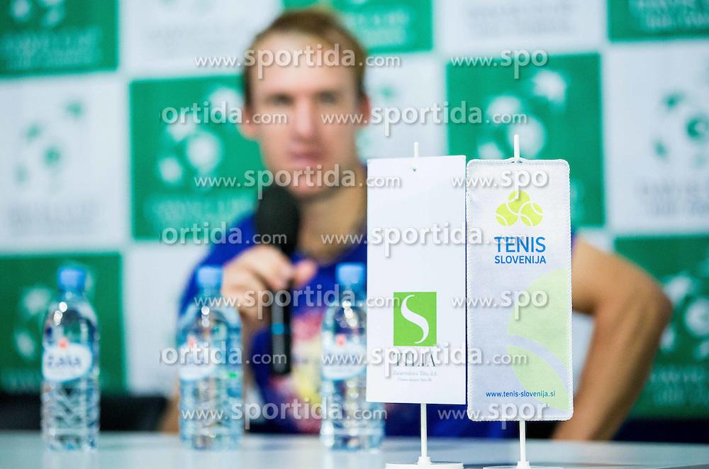 Grega Zemlja of Slovenia at press conference during Davis Cup Slovenia vs Lithuania competition, on October 30, 2015 in Kranj, Slovenia. Photo by Vid Ponikvar / Sportida