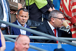CARDIFF, WALES - Sunday, September 2, 2018: Wales manager Ryan Giggs and assistant Osian Roberts during the FA Premier League match between Cardiff City FC and Arsenal FC at the Cardiff City Stadium. (Pic by David Rawcliffe/Propaganda)