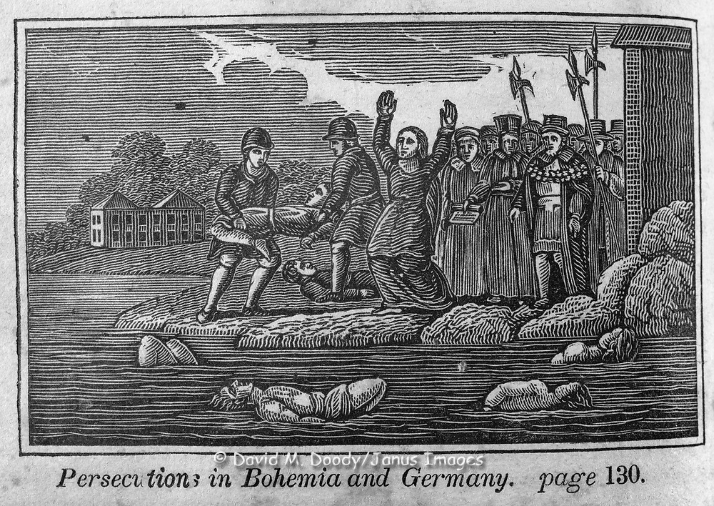 "Death by drowning in Germany. Protestant vs Catholic violence. Vintage Woodcut Illustration from: ""Book of Martyrs"" Tortures carried out in the name of religion."