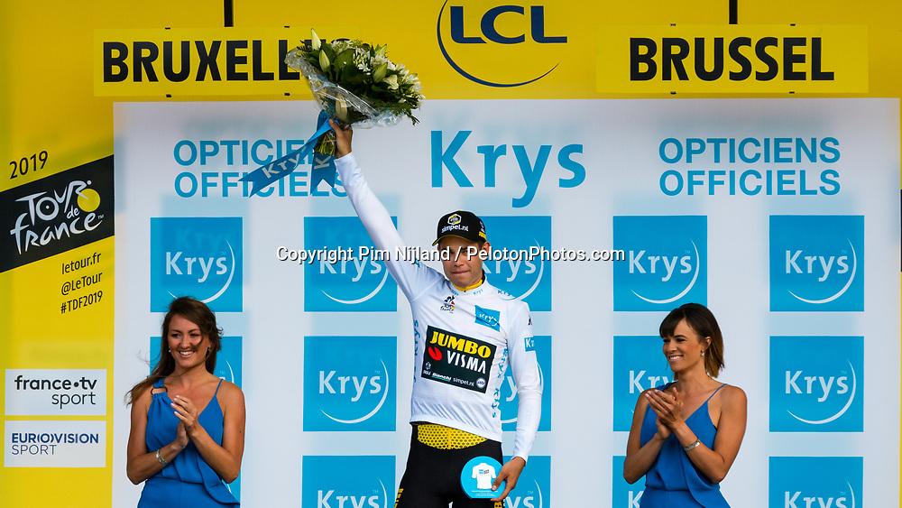 Podium of the white jersey with Wout van Aert (BEL) of Team Jumbo-Visma (NED,WT,Bianchi) after stage 2 TTT from Bruxelles to Brussel of the 106th Tour de France, 7 July 2019. Photo by Pim Nijland / PelotonPhotos.com | All photos usage must carry mandatory copyright credit (Peloton Photos | Pim Nijland)