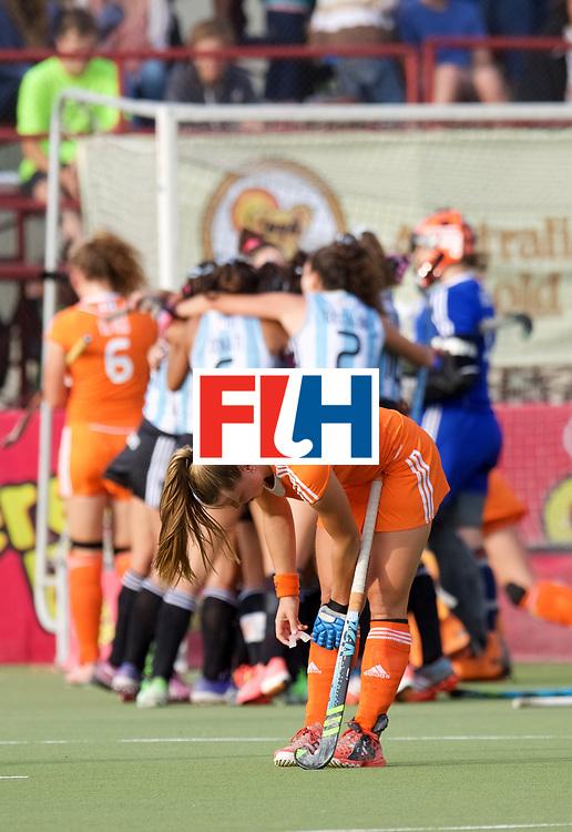SANTIAGO - 2016 8th Women's Hockey Junior <br /> World Cup<br /> Final NED v ARG (1 / 2 Place)<br /> Argentina wins<br /> Worldchampion<br /> foto: Argentina celebrations sad Dutch faces Marie Burg  furtherground.<br /> WORLDSPORTPICS COPYRIGHT FRANK UIJLENBOEK