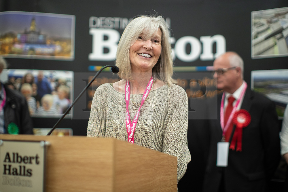 © Licensed to London News Pictures . 02/05/2019. Bolton, UK. MARIE BRADY of Horwich and Blackrod First Independents wins the Horwich North East ward . The count for Bolton Council at Bolton Town Hall . The Labour Party are threatened to lose their majority on the council . Local council elections are taking place across the country . Photo credit: Joel Goodman/LNP