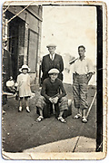 damaged vintage family group portrait image